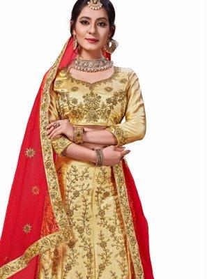 Thread Work Cream and Gold Satin Silk Trendy Lehenga Choli