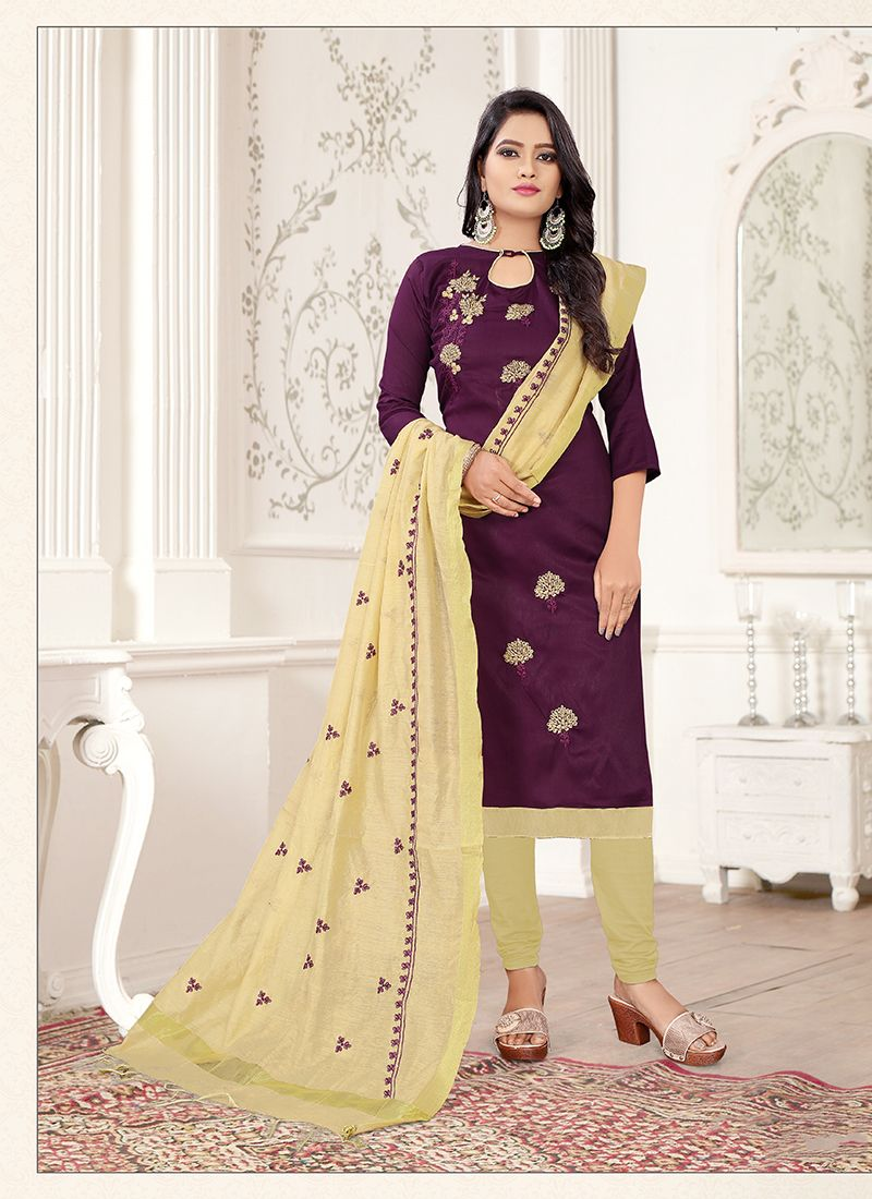 Thread Work Cream and Wine Churidar Salwar Kameez
