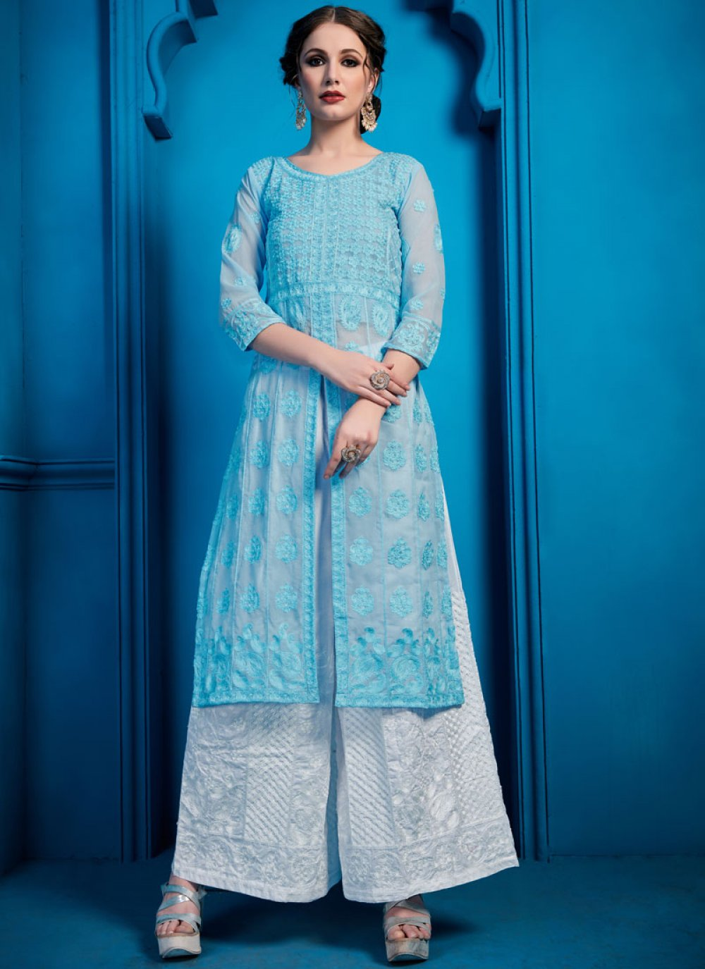 Thread Work Georgette Blue Designer Palazzo Salwar Kameez