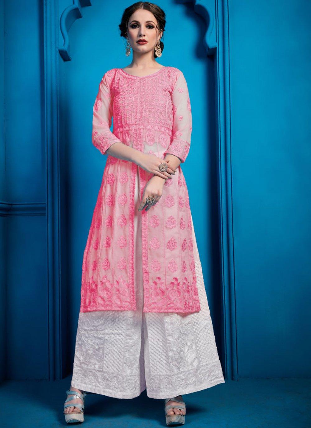 Thread Work Georgette Pink Designer Palazzo Salwar Kameez