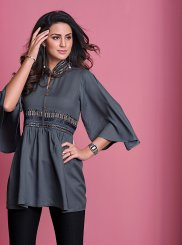 Thread Work Grey Casual Kurti