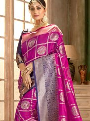 Thread Work Hot Pink Art Silk Classic Saree