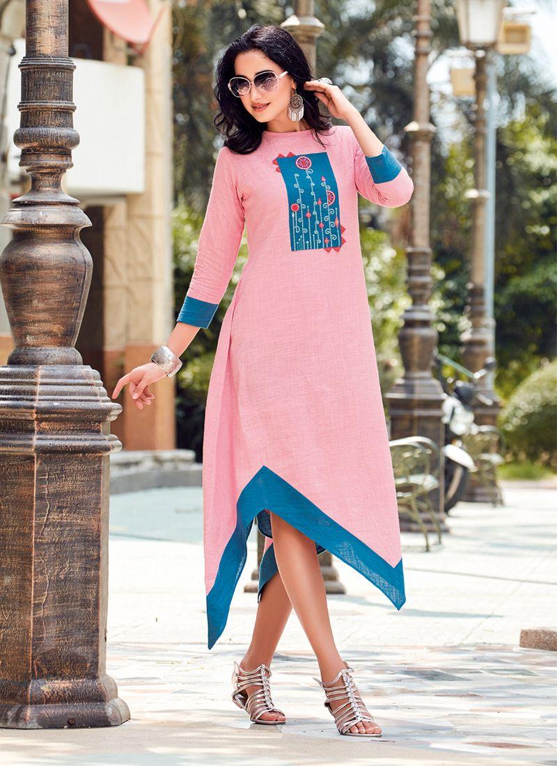 Thread Work Linen Casual Kurti in Pink