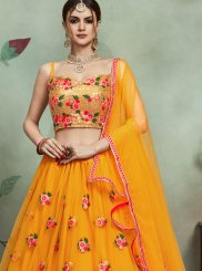 Thread Work Mustard Trendy Lehenga Choli