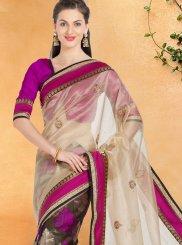Tissue Cream and Purple Embroidered Work Designer Half N Half Saree