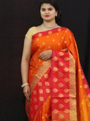 Tissue Weaving Classic Saree in Orange and Red