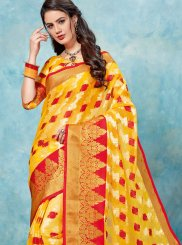 Tissue Yellow Woven Traditional Saree