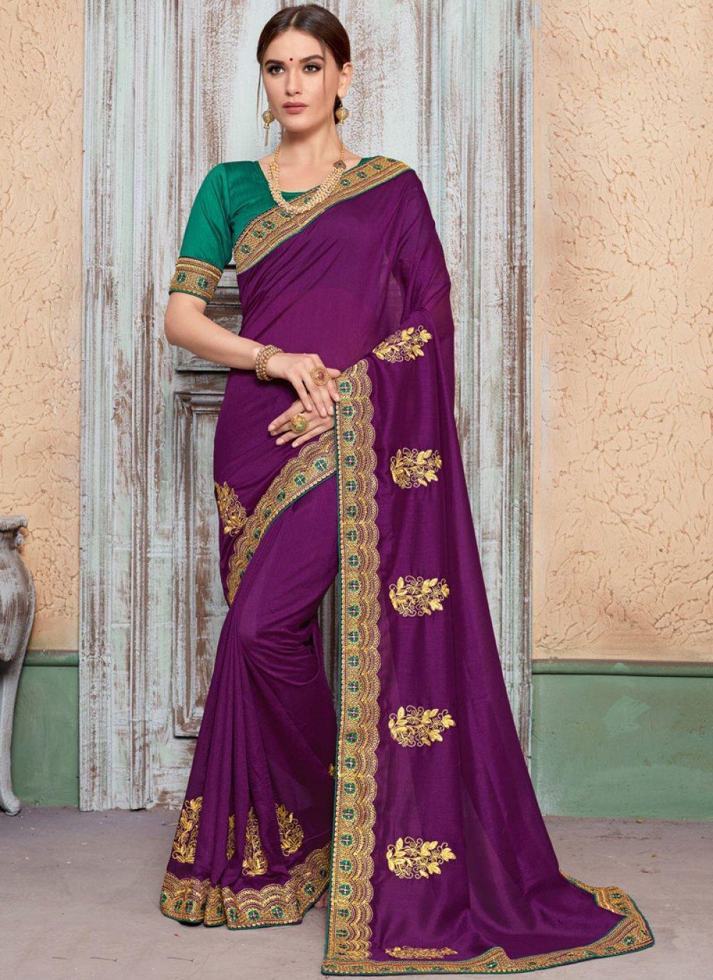 Traditional Designer Saree Embroidered Art Silk in Purple
