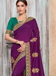 Traditional Designer Saree Embroidered Art Silk in Purple