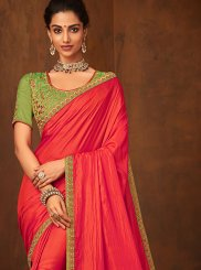 Traditional Designer Saree Embroidered Art Silk in Red