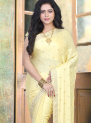 Traditional Designer Saree Embroidered Art Silk in Yellow