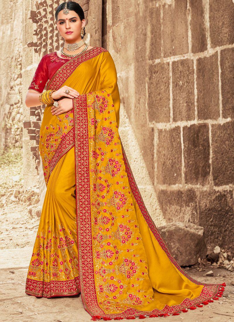 Traditional Designer Saree Embroidered Satin Silk in Mustard
