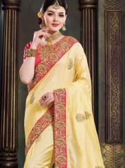 Traditional Designer Saree Patch Border Art Silk in Yellow
