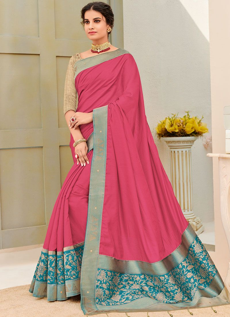 Traditional Designer Saree Patch Border Fancy Fabric in Hot Pink