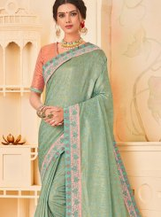 Traditional Designer Saree Patch Border Poly Silk in Green