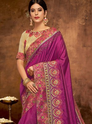 Traditional Designer Saree Patch Border Satin Silk in Wine