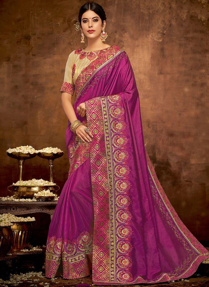 Traditional Designer Saree Patch Border Satin Silk in Wine