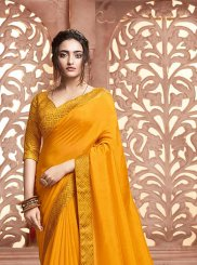 Traditional Designer Saree Patch Border Satin Silk in Yellow