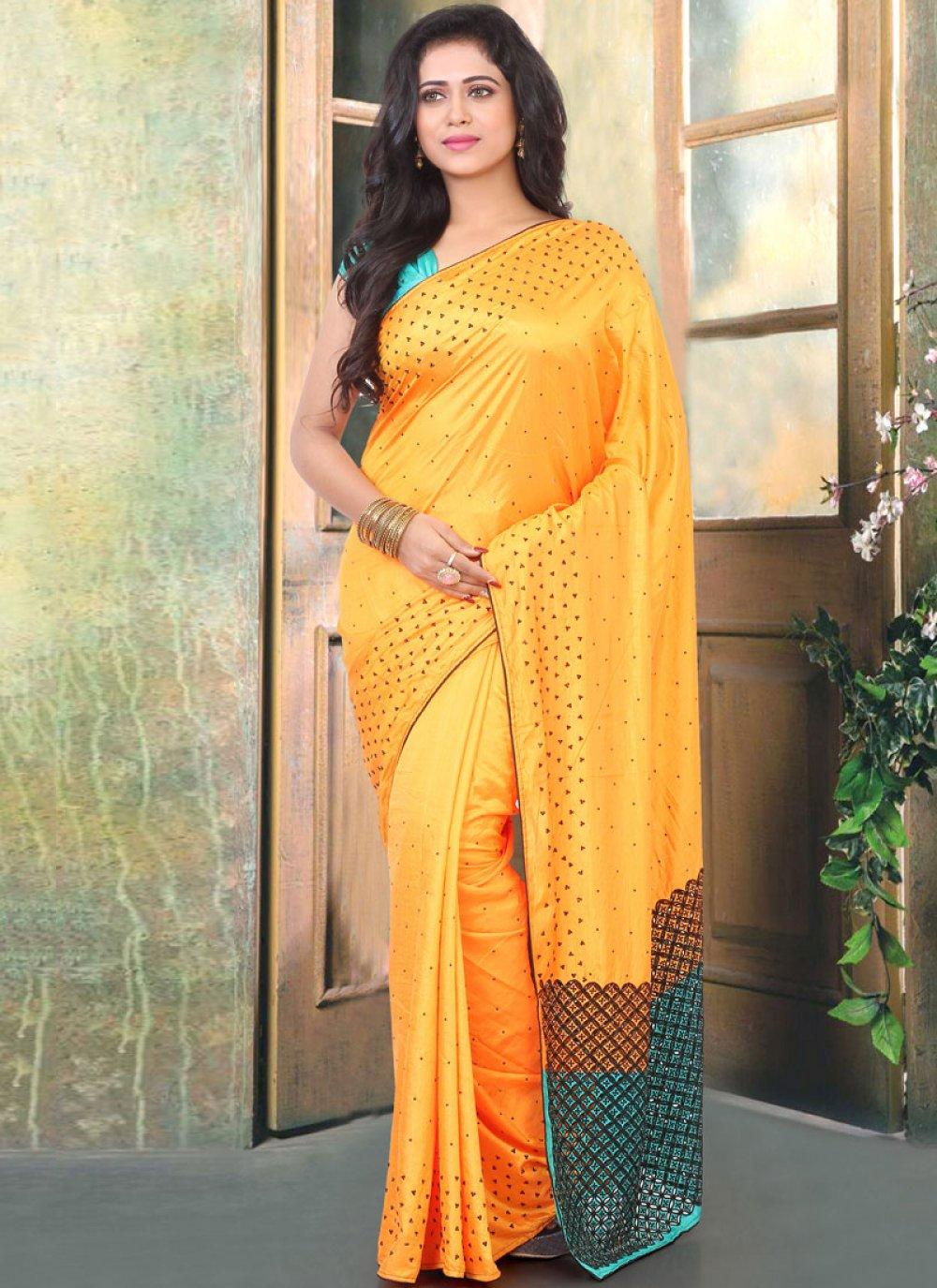 Traditional Designer Saree Stone Work Silk in Mustard