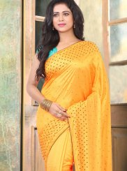 Traditional Designer Saree Stone Work Silk in Mustard