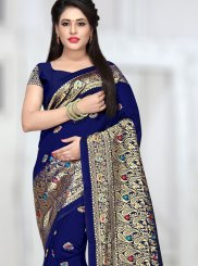 Traditional Designer Saree Weaving Art Silk in Blue