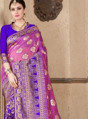Traditional Designer Saree Weaving Art Silk in Blue and Pink