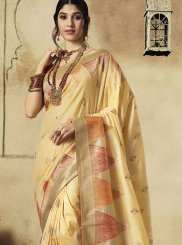 Traditional Designer Saree Weaving Art Silk in Cream
