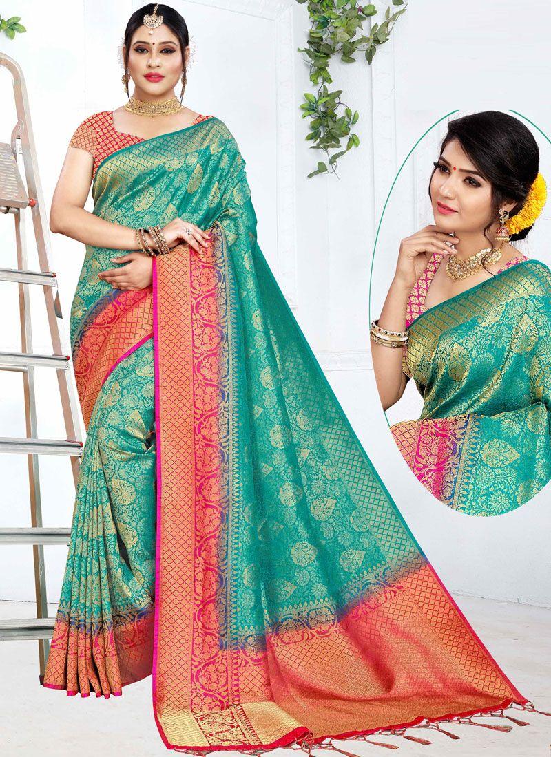 Traditional Designer Saree Weaving Art Silk in Firozi