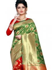 Traditional Designer Saree Weaving Art Silk in Green and Red