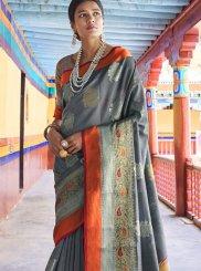 Traditional Designer Saree Weaving Art Silk in Grey