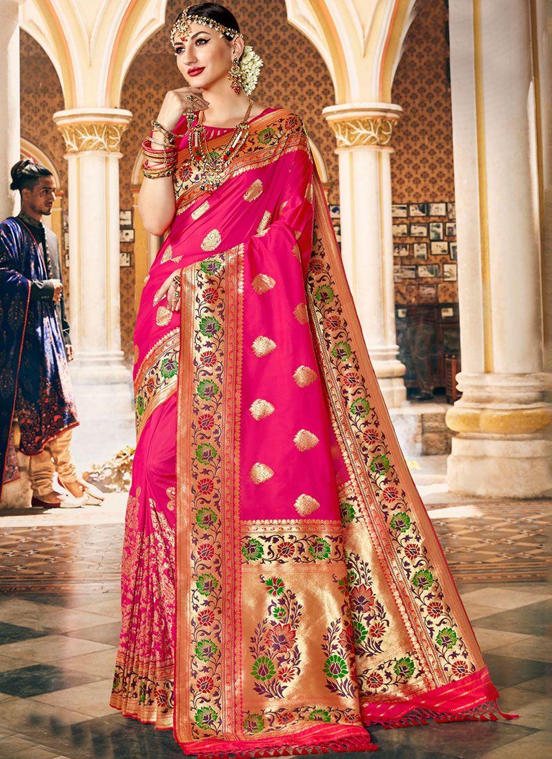 Traditional Designer Saree Weaving Art Silk in Hot Pink