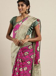Traditional Designer Saree Weaving Art Silk in Hot Pink