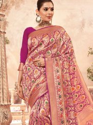 Traditional Designer Saree Weaving Art Silk in Magenta