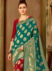 Traditional Designer Saree Weaving Art Silk in Maroon and Sea Green