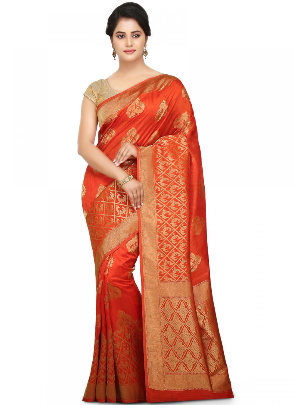 Traditional Designer Saree Weaving Art Silk in Red