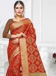 Traditional Designer Saree Weaving Art Silk in Red