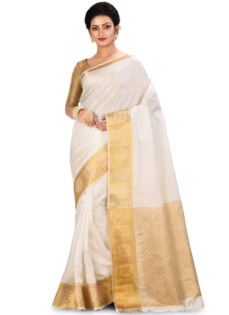 Traditional Designer Saree Weaving Art Silk in White