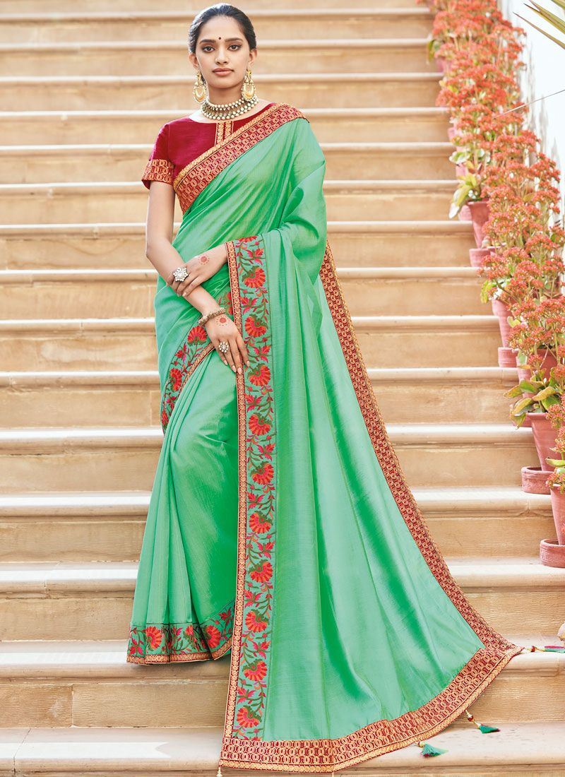 Traditional Designer Saree Weaving Raw Silk in Turquoise