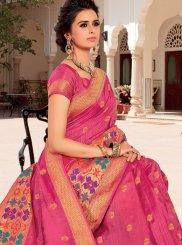 Traditional Designer Saree Weaving Satin Silk in Hot Pink