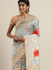 Traditional Designer Saree Woven Art Silk in Grey