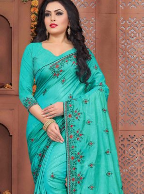 Traditional Designer Saree Zari Art Silk in Blue