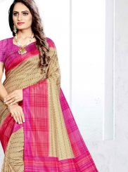Traditional Saree Abstract Print Art Silk in Beige