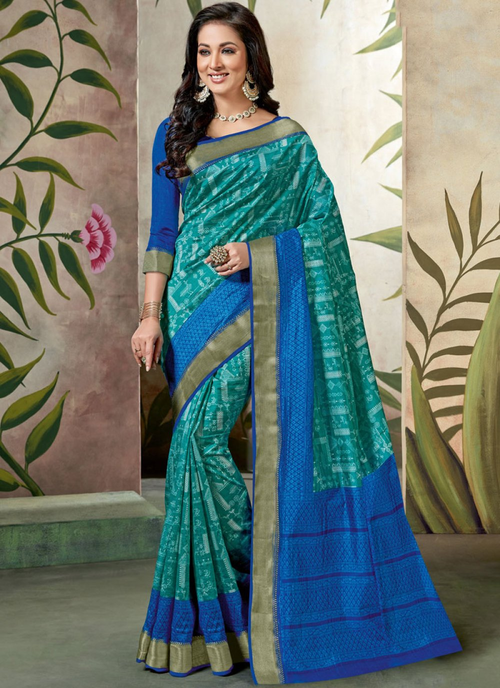 Traditional Saree Abstract Print Raw Silk in Blue