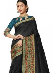 Traditional Saree Border Art Silk in Black
