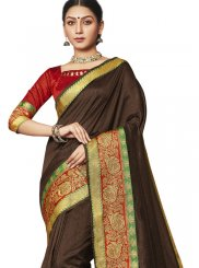 Traditional Saree Border Art Silk in Brown