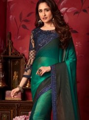 Traditional Saree Digital Print Faux Chiffon in Blue and Teal