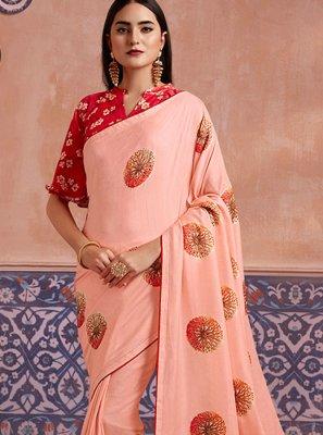 Traditional Saree Digital Print Silk in Peach