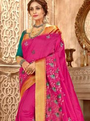 Traditional Saree Embroidered Cotton Silk in Pink
