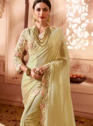 Traditional Saree Embroidered Faux Georgette in Beige
