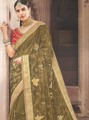 Traditional Saree Embroidered Faux Georgette in Green